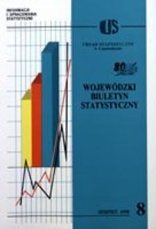 Wojewódzki Biuletyn Statystyczny, 1998, R. 24, nr 8