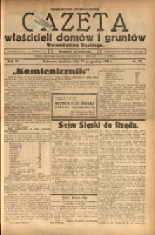 Gazeta Właścicieli Domów i Gruntów Województwa Śląskiego, 1931, R. 4, nr 52