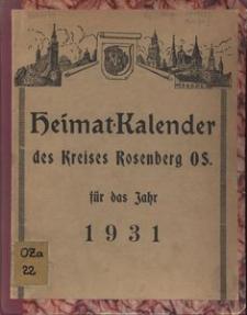 Heimat-Kalender des Kreises Rosenberg O-S, 1931