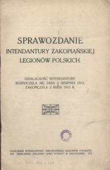 Sprawozdanie Intendantury Zakopiańskiej Legionów Polskich