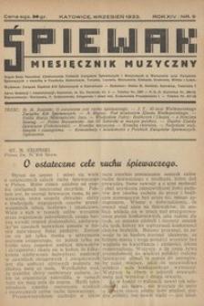 Śpiewak, 1933, R. 14, nr 9
