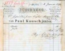 Rachunek firmowy ze sklepu Paula Kauscha juniora z 1890 r.