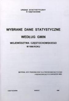 Wybrane dane statystyczne według gmin województwa częstochowskiego w 1995 roku