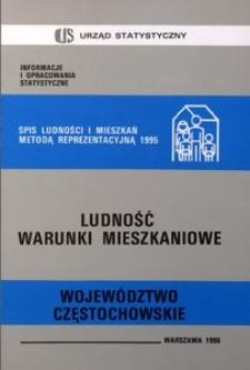 Spis Ludności i Mieszkań Metodą Reprezentacyjną 1995. Ludność, warunki mieszkaniowe. Województwo częstochowskie