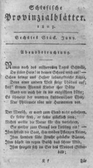 Schlesische Provinzialblätter, 1803, 37. Bd., 6. St.: Juni