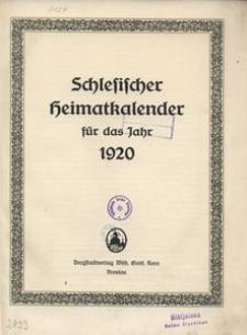 Schlesischer Heimatkalender für das Jahr 1920