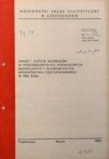 Zapasy i zużycie materiałów w przedsiębiorstwach przemysłowych, budowlanych i transportowych województwa częstochowskiego w 1983 roku