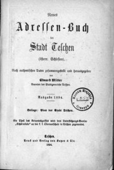 Neues Adressen-Buch der Stadt Teschen (österr. Schlesien), 1894