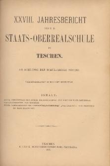 Jahresbericht der k. k. Staats-Oberrealschule in Teschen, 1900/1901