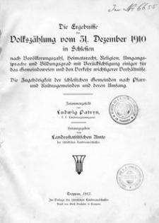 Der Ergebnisse der Volkszählung vom 31. Dezember 1910 in Schlesien