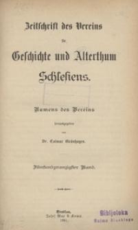 Zeitschrift des Vereins für Geschichte und Alterthum Schlesiens, 1891, Bd. 25