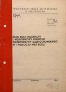 Stan, ruch naturalny i wędrówkowy ludności województwa częstochowskiego w I półroczu 1983 roku