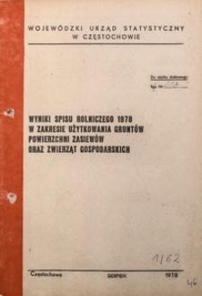 Wyniki spisu rolniczego 1978 w zakresie użytkowania gruntów, powierzchni zasiewów oraz zwierząt gospodarskich