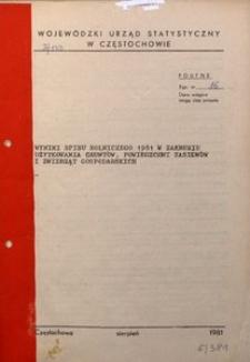 Wyniki spisu rolniczego 1981 w zakresie użytkowania gruntów, powierzchni zasiewów i zwierząt gospodarskich