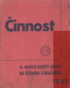 Činnost Slezské Matice osvěty lidové na Těšínsku a Hlučínsku za Rok 1933