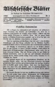 Altschlesische Blätter, 1926, Jg. 1, Nr. 2