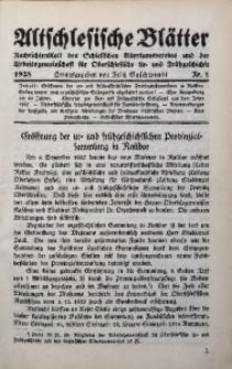 Altschlesische Blätter, 1928, Jg. 3, Nr. 1