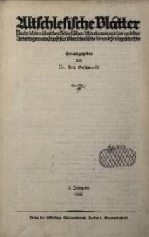 Altschlesische Blätter, 1932, Jg. 7, Inhaltsverzeichnis