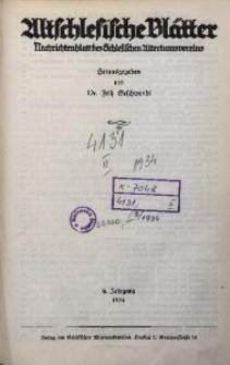 Altschlesische Blätter, 1934, Jg. 9, Inhaltsverzeichnis
