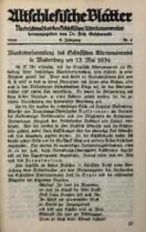 Altschlesische Blätter, 1934, Jg. 9, Nr. 4
