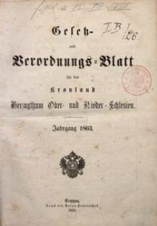 Gesetz- und Verordnungsblatt für das Kronland Herzogthum Ober- und Niederschlesien, 1863, Inhalt