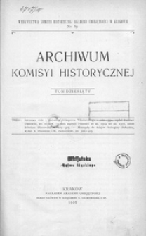 Archiwum Komisyi Historycznej. T. 10