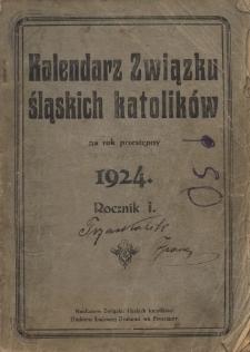 Kalendarz Związku Śląskich Katolików na Rok Przestępny 1924