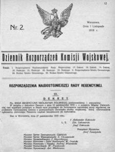 Dziennik Rozporządzeń Komisji Wojskowej, 1918, R. 2, nr 2