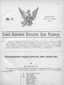 Dziennik Rozporządzeń Ministerstwa Spraw Wojskowych, 1918, R. 1, nr 5
