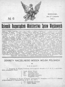 Dziennik Rozporządzeń Ministerstwa Spraw Wojskowych, 1918, R. 1, nr 6