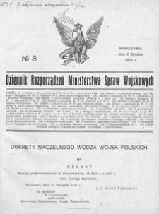 Dziennik Rozporządzeń Ministerstwa Spraw Wojskowych, 1918, R. 1, nr 8