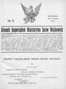 Dziennik Rozporządzeń Ministerstwa Spraw Wojskowych, 1918, R. 1, nr 9