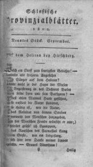 Schlesische Provinzialblätter, 1802, 36. Bd., 9. St.: September