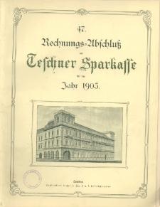 Rechnungs-Abschluss der Teschner Sparcasse für das Jahr 1905