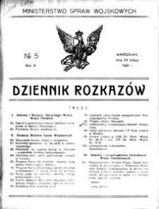 Dziennik Rozkazów, 1920, R. 3, nr 5