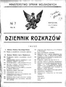 Dziennik Rozkazów, 1920, R. 3, nr 7