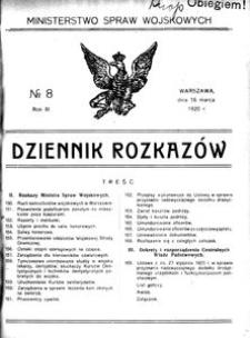 Dziennik Rozkazów, 1920, R. 3, nr 8