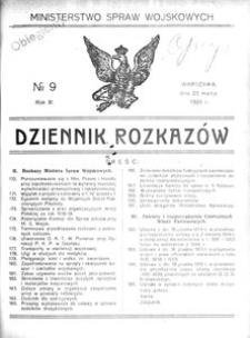 Dziennik Rozkazów, 1920, R. 3, nr 9