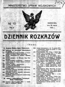 Dziennik Rozkazów, 1920, R. 3, nr 10