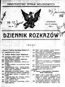 Dziennik Rozkazów, 1920, R. 3, nr 12