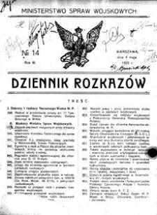 Dziennik Rozkazów, 1920, R. 3, nr 14