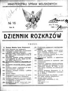 Dziennik Rozkazów, 1920, R. 3, nr 16