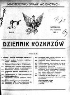 Dziennik Rozkazów, 1920, R. 3, nr 19
