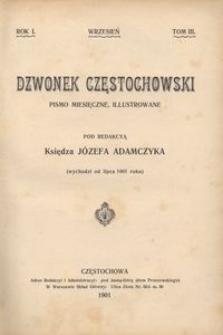 Dzwonek Częstochowski : pismo miesięczne, illustrowane, 1901, R.1, T.3 - wrzesień