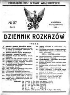 Dziennik Rozkazów, 1920, R. 3, nr 37