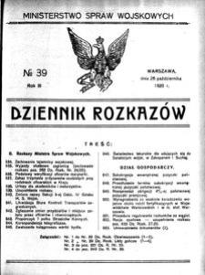 Dziennik Rozkazów, 1920, R. 3, nr 39