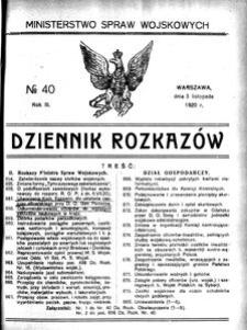 Dziennik Rozkazów, 1920, R. 3, nr 40