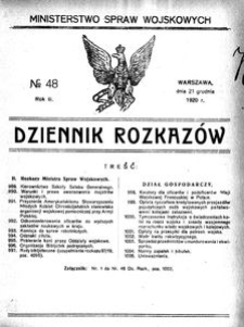 Dziennik Rozkazów, 1920, R. 3, nr 48