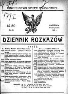 Dziennik Rozkazów, 1920, R. 3, nr 50