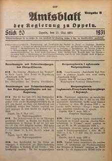 Amtsblatt der Regierung zu Oppeln für 1931, Bd. 116, St. 20. - Ausgabe B